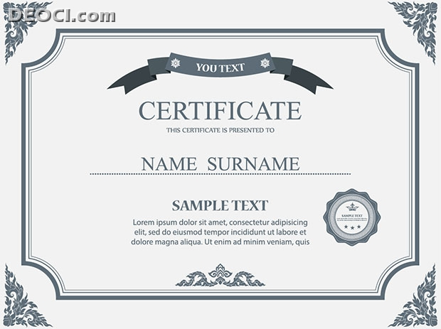 Certificate Design Template Gray Pattern Style Vector Download