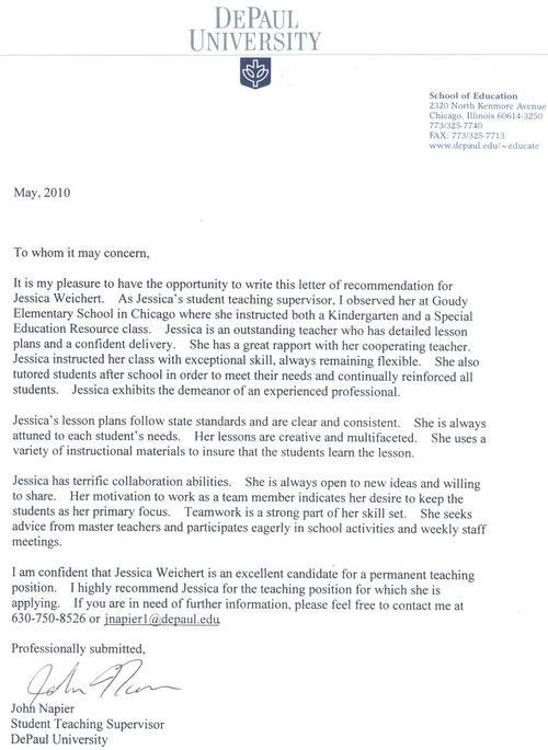 Digication e-Portfolio  Jessica Weichert\u0027s E-Portfolio  Letters - letter of recommendation for teaching position