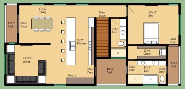 Casa moderna de dos pisos tres dormitorios y 168 metros for Piso 8 metros cuadrados