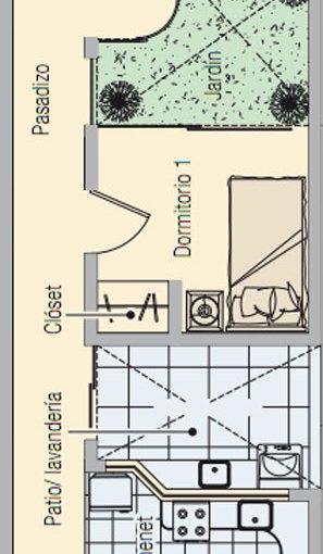 Casa de dos dormitorios y 60 metros cuadrados para terreno for Jardin 60 metros cuadrados