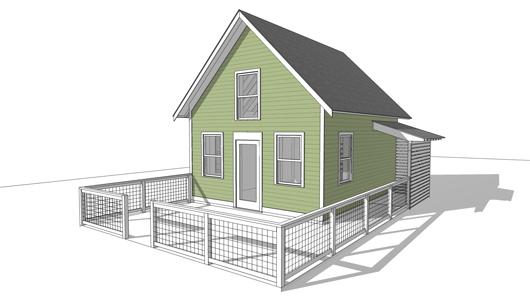 Pequeña casa de 33 metros cuadrados y un dormitorio