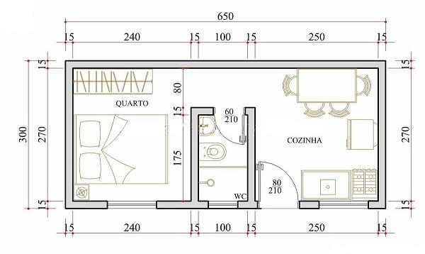 Diminuta casa de una planta un dormitorio y 20 metros for Dormitorio 15 metros cuadrados