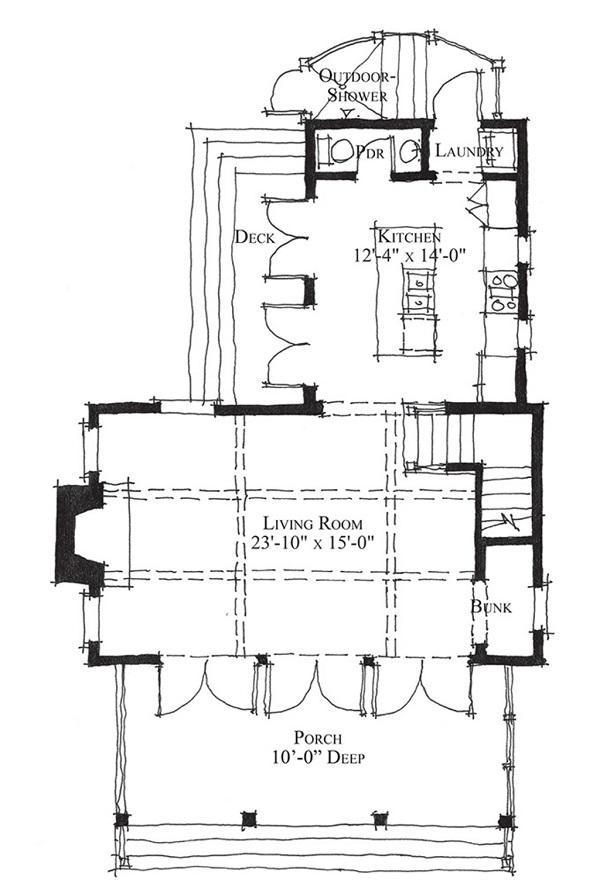 Plano de casa de campo de dos plantas un dormitorio y 96 for Casa de planta baja