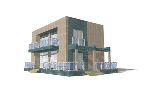 casa moderna de dos pisos y dos dormitorios