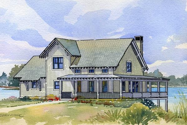 Plano de casa comoda de dos plantas, tres dormitorios y 156 metros cuadrados