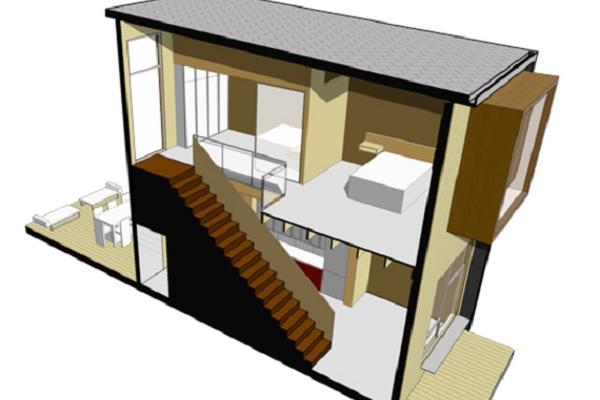 Casa vacacional de dos dormitorios y 62 metros cuadrados