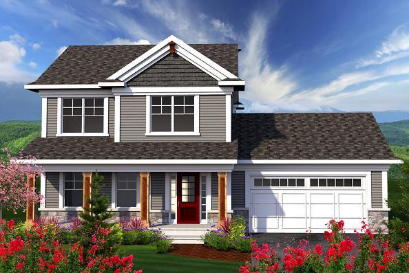 Plano de casa clasica de 2 pisos, 3 dormitorios y 146 metros cuadrados