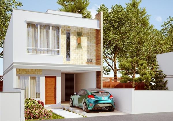 Plano de duplex para terreno angosto de tres dormitorios y 136 metros cuadrados