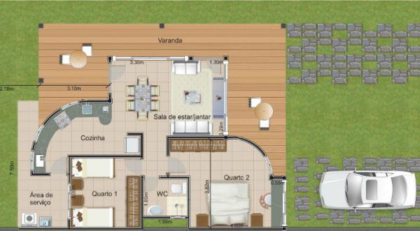 Plano de casa de fin de semana de dos habitaciones