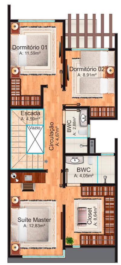 Plano De Duplex Para Terreno Angosto De Tres Dormitorios Y