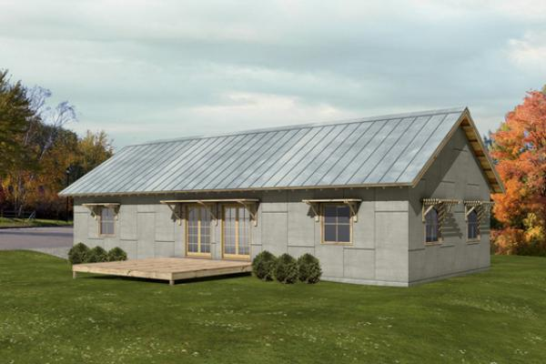 Plano de casa minimalista de 119 metros cuadrados y 3 dormitorios
