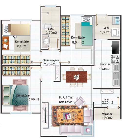 Plano de casa moderna y pequeña de tres dormitorios