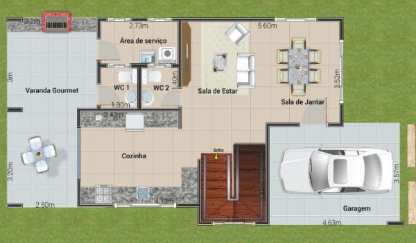 Plano de casa con tres suites en dos plantas y 154 metros for Diseno casa planta baja