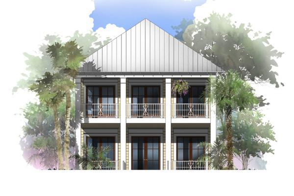 Plano de gran casa de dos pisos, cuatro dormitorios y 268 metros cuadrados