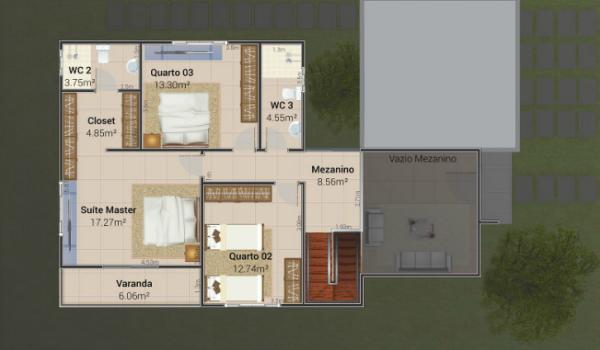 Plano planta alta casa moderna de cuatro dormitorios