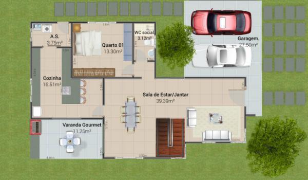 Plano planta baja casa moderna de cuatro dormitorios
