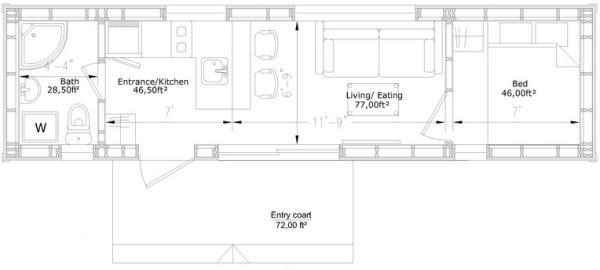Plano casa de container
