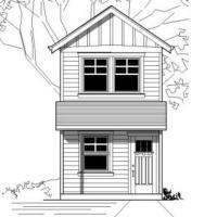 Plano de duplex de un dormitorio, un baño y 53 metros cuadrados
