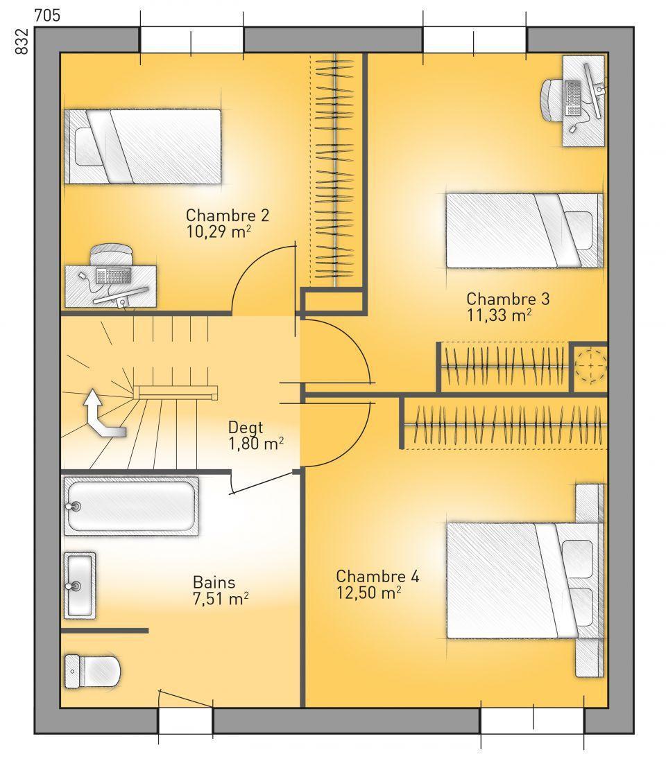 Hacer Un Baño En Planta Alta: casa francesa de 4 dormitorios y 130 metros cuadrados en dos plantas