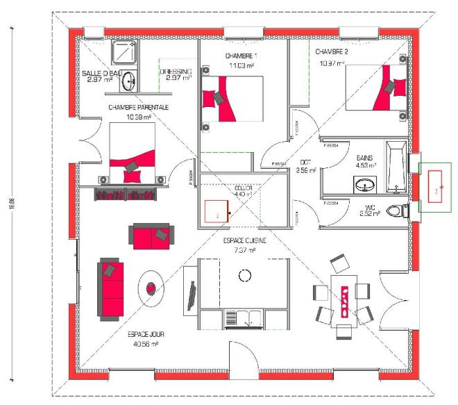 Fantastico plano en 3d de casa de una planta y tres for Bano 2 metros cuadrados