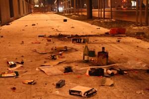 Das hässliche Gesicht der Auseinandersetzungen: Westlausannestadt gleicht einem Trümmerfeld.