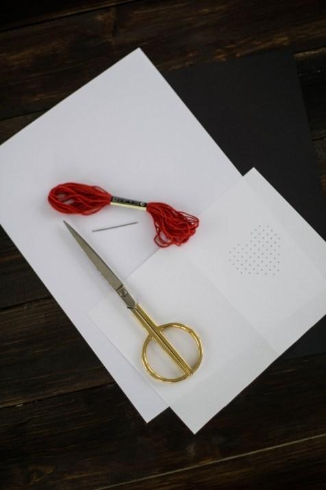 DIY Karte Sticken Valentstag Herz