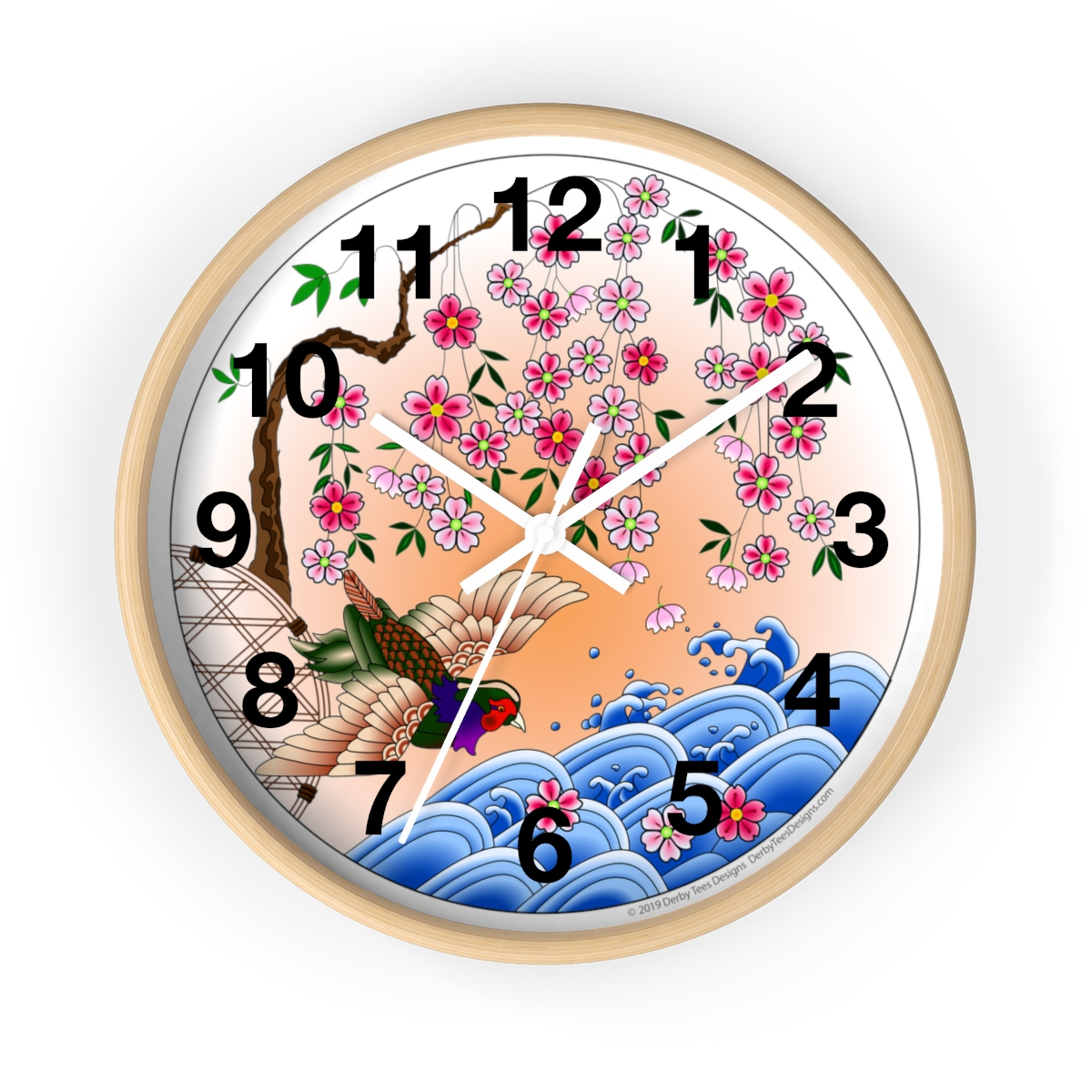 Statement Wall Clocks Japanese Cherry Blossom Pheasant Wall Clock Derby Tees