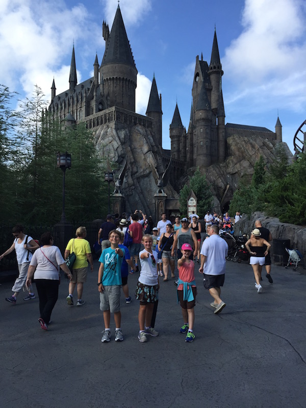 Wands at the ready before entering Hogwarts Castle