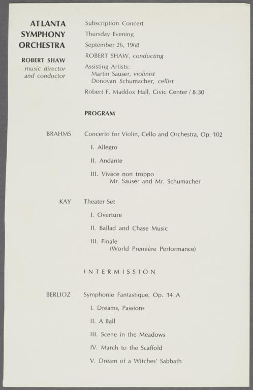 Atlanta Symphony Orchestra Subscription Concert Program insert