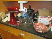 Getting ready to grind pork