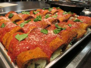Eggplant rollatini ready for service