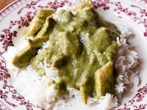 Sauce au curry vert et poulet