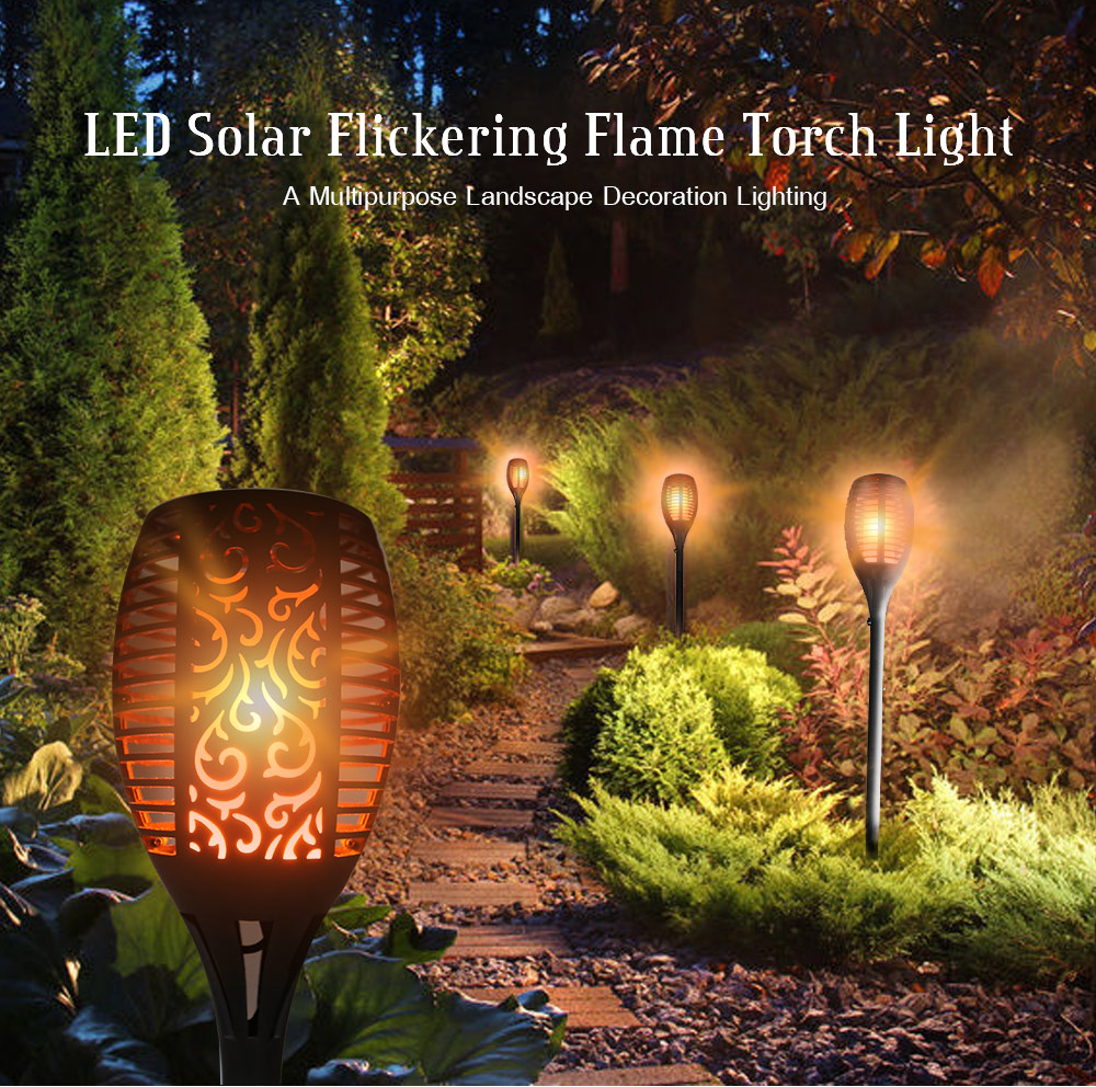 Test Solar Verlichting Utorch 96 Leds Led Solar Waterproof Flickering Flame Torch Lamp