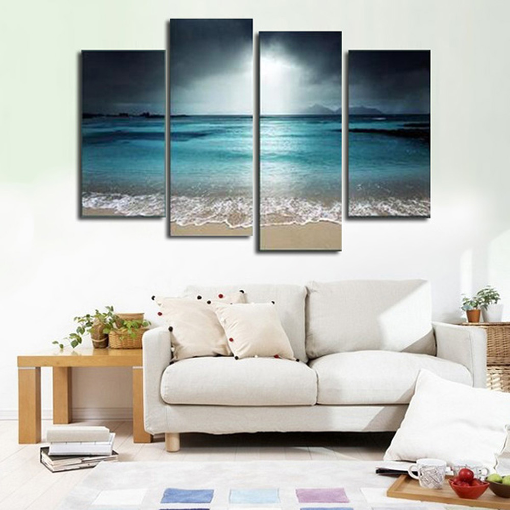 Printing Canvas 4pcs Seascape Printing Canvas Wall Decoration