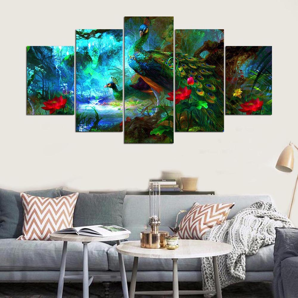 Peacock Living Room Ysdafen5 Panel Modern Hd Elegant Peacock Canvas Art For Living Room Wall Picture