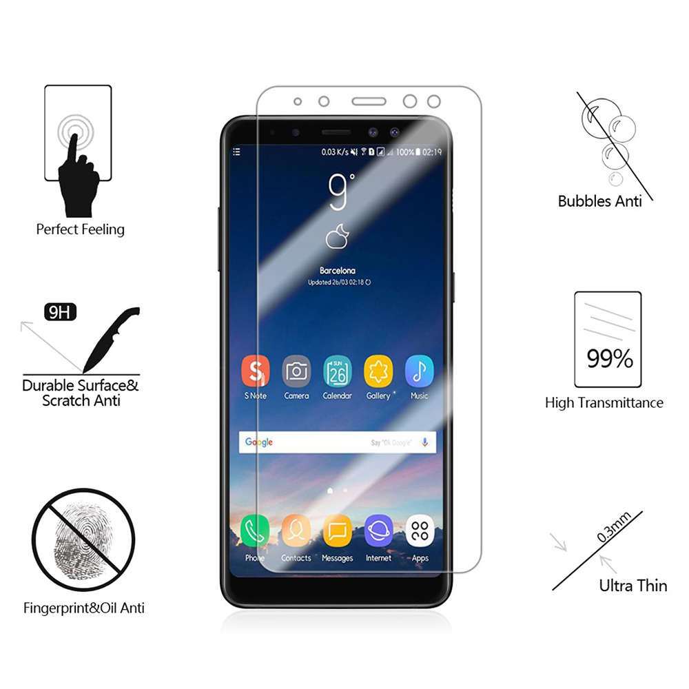 Samsung Screen 9h Hardness 2mm Tempered Glass Screen Protector Film For Samsung Galaxy A8 2018