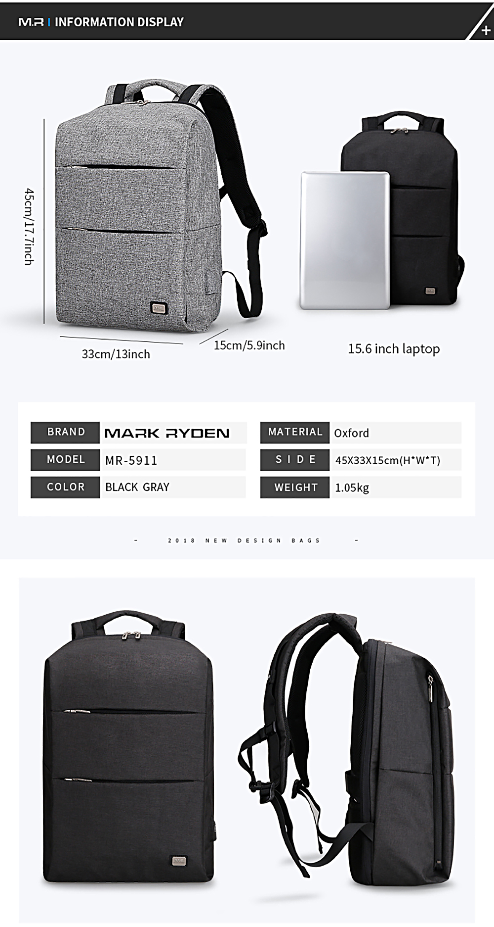 2018 Travel Bags Markrydeb 5911 2018 New Men S Backpack Stylish Leisure Travel Bag