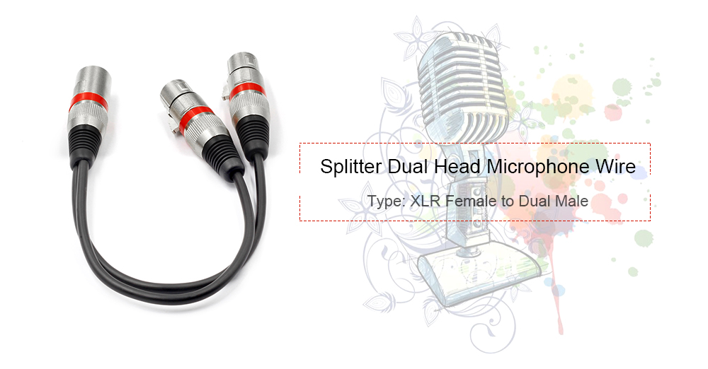 XLR Splitter Dual XLR Male To 3 Pin XLR Female Patch Y Cable 03M