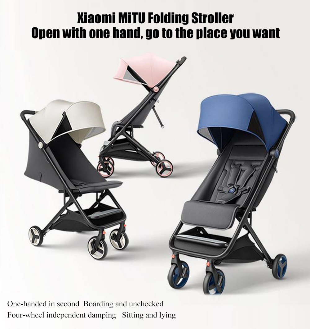 Lightweight Folding Pram Xiaomi Mitu Folding Stroller Multifunctional Trolley Case For Babies