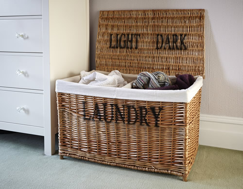 Store Wicker Laundry Sorter Hamper