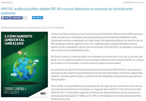 MPF/SC: audiência pública debate PEC 65 e outras alterações no processo de licenciamento ambiental