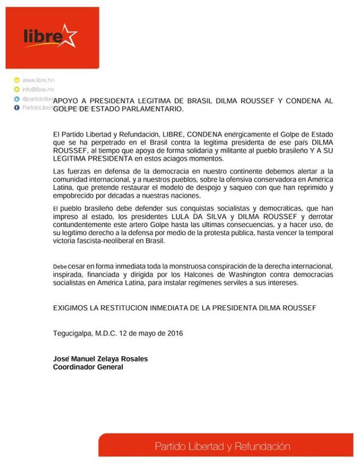 Partido LIBRE de Honduras condena golpe no Brasil
