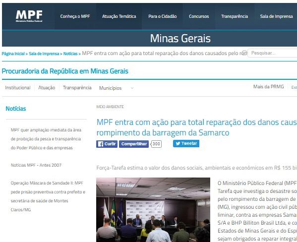 MPF entra com ação para total reparação dos danos causados pelo rompimento da barragem da Samarco