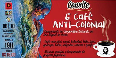 Recado da Diretora Geral do Portal Desacato, Tali Feld Gleiser, convidando para o Café AntiColonial, dia 08 de outubro