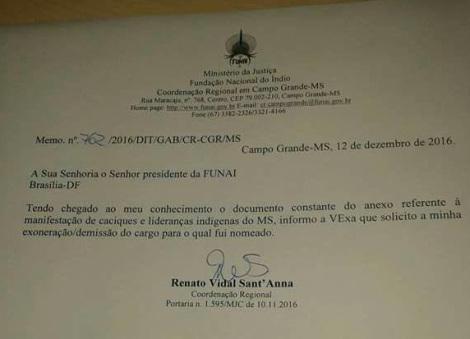 Vitória indígena: Coronel pede exoneração da FUNAI no MS