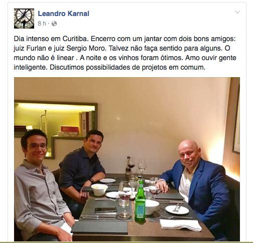 Karnal posta foto de jantar com Moro e provoca debandada em seu Facebook