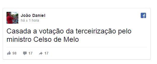 URGENTE: Celso de Mello pede esclarecimentos sobre votação da terceirização ilimitada