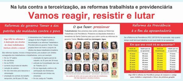 Jaraguá do Sul – Intersindical promove Ato Público na Praça Ângelo Piazera nesta sexta-feira