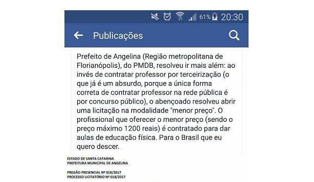 Professores são contratados por leilão de menor preço em Angelina (SC)