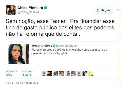 Chico Pinheiro fura bloqueio da Globo e detona Temer por empregar babá